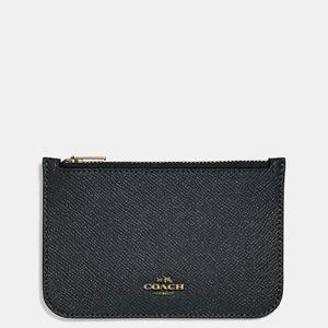 COACH Crossgrain Black Leather Slim Zip Card Case